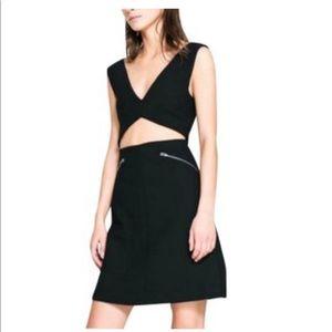 Zara Black Studio Cut Out Zipper Dress Size M